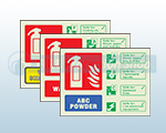 Photoluminescent Fire Extinguisher I.D Signs