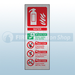 Prestige Portrait Water Fire Extinguisher Sign (Stainless Look)