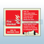 Landscape Photoluminescent Fire Blanket Sign