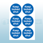 65mm Diameter Self Adhesive Keep Locked Shut Signs (Sheets Of 6)
