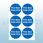 65mm Diameter Self Adhesive Fire Door Keep Shut Signs (Sheets Of 6)