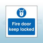 80mm X 80mm Rigid Plastic Caution Fire Door Keep Locked Sign