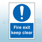 (A4) 210mm X 297mm Self Adhesive Caution Fire Exit Keep Clear Sign