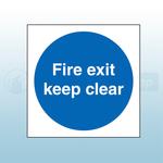 400mm X 400mm Rigid Plastic Fire Exit Keep Clear Sign