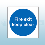 100mm X 100mm Double Sided Self Adhesive Fire Exit Keep Clear Sign