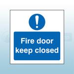 80mm X 80mm Rigid Plastic Caution Fire Door Keep Closed Sign