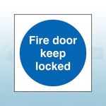 80mm X 80mm Self Adhesive Fire Door Keep Locked Sign