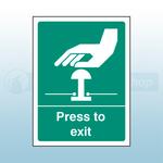 100mm X 75mm Rigid Plastic Press To Exit Sign