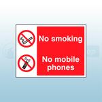 200 x 150mm No Smoking- No Mobile Phones Self Adhesive Safety Sign
