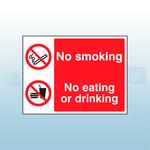 200 x 150mm No Smoking/ No Eating or Drinking Self Adhesive Safety Sign