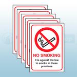 5 x No Smoking - (England and Northern Ireland) Rigid Plastic Safety Sign 148 X 210mm