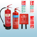2KG ABC Dry Powder, 6LTR AFFF Foam Fire Extinguishers, 1.8m x 1.2m Hard Case Fire Blanket & Extinguisher ID Signs