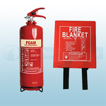 FireShield 2LTR AFFF Foam Fire Extinguisher & 1.0m x 1.0m Hard Case Fire Blanket