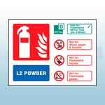 Landscape Rigid Plastic L2 Powder Fire Extinguisher Sign