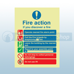 250mm X 300mm Photoluminescent Public Fire Action Sign 2