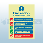 250mm X 300mm Photoluminescent Public Fire Action Sign 1