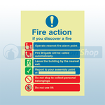 250mm X 300mm Photoluminescent Public Fire Action Sign 4