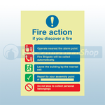 250mm X 300mm Photoluminescent Public Fire Action Sign 3