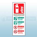 Portrait Self Adhesive Alcohol Resistant Foam Fire Extinguisher Sign