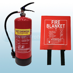 6ltr Wet Chemical Fire Extinguisher & 1.0m x 1.0m Hard Case Fire Blanket