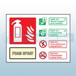 Landscape Rigid Plastic AFFF Foam Fire Extinguisher Sign