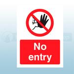 150mm X 200mm Self Adhesive No Entry Sign