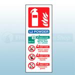 Portrait Self Adhesive L2 Powder Fire Extinguisher Sign