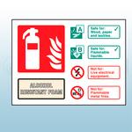 Landscape Rigid Plastic Alcohol Resistant Foam Fire Extinguisher Sign