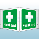 350 x 200mm First Aid Rigid Plastic 3D Projecting Sign