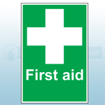 First Aid Sign with White Cross 20x30cm (Rigid)