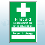 First Aid Box Situated Sign 20x30cm (Vinyl)
