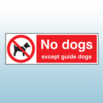 300mm x 100mm Rigid Plastic No Dogs Except Guide Dogs Safety Sign