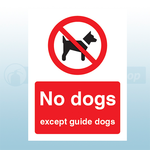 300mm x 400mm Rigid Plastic No Dogs Except Guide Dogs Safety Sign