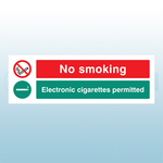300 x 100mm No Smoking Electronic Cigarettes Permitted Safety Sign