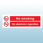 300 x 100mm No Smoking No Electronic Cigarettes Safety Sign