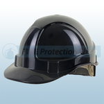 Black Vented Safety Helmet With Ratchet Harness