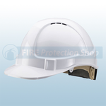 White Vented Safety Helmet With Ratchet Harness