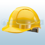 Yellow Vented Safety Helmet With Ratchet Harness