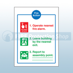 Self Adhesive Standard Fire Action Sign