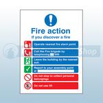 200mm X 150mm Rigid Plastic Public Fire Action Sign 2