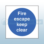 200mm X 200mm Rigid Plastic Fire Escape Keep Clear Sign