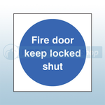 80mm X 80mm Rigid Plastic Fire Door Keep Locked Shut Sign
