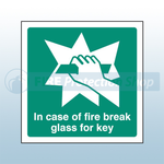 200mm X 200mm Rigid Plastic In Case Of Fire Break Glass For Key Sign