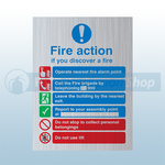 200mm X 150mm Prestige Public Fire Action Sign 2 (Stainless Look)