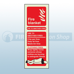 Portrait Photoluminescent Fire Blanket Sign