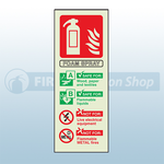 Portrait Photoluminescent AFFF Foam Fire Extinguisher Sign