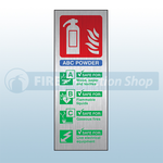 Prestige Portrait ABC Dry Powder Fire Extinguisher Sign (Stainless Look)
