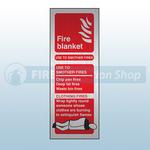 Prestige Portrait Fire Blanket Sign (Stainless Look)
