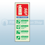 Portrait Photoluminescent ABC Dry Powder Fire Extinguisher Sign
