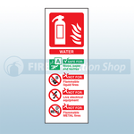 Portrait Rigid Plastic Water Fire Extinguisher Sign